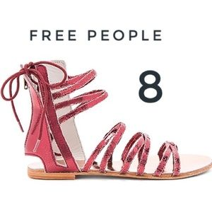 Free People red metallic Juliette gladiator sandal